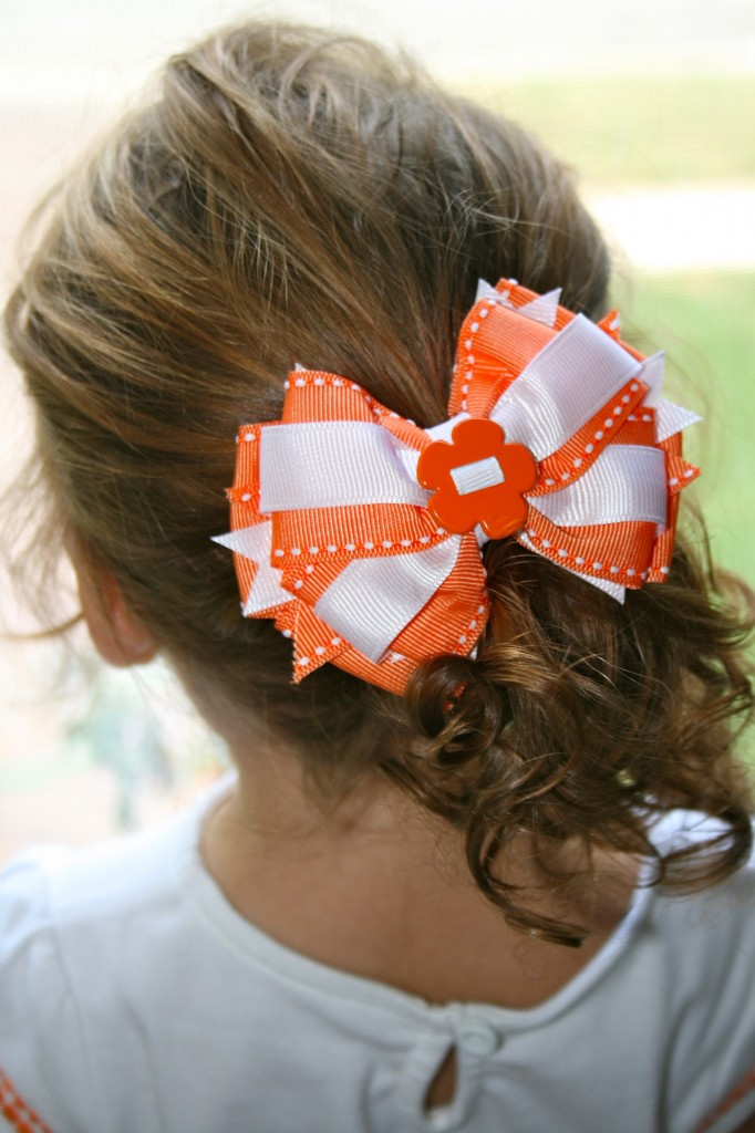 orange bow back of head 682x1024 Review & Giveaway: Sweet Emmie Bowtique