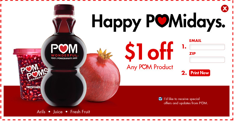 We're always on the lookout for new and great coupons being released by Pom. Based on our recent data, it looks like the most popular coupon for Pom has been: $ off 12oz or larger POM Wonderful products ($/1).