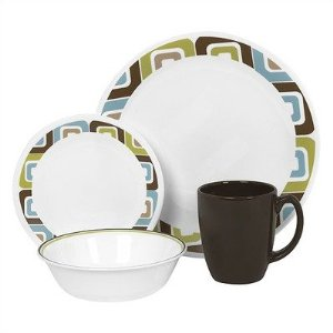 corelle sqaured 16 Piece Corelle Dishes Sets, Service for 4   $25, Shipped!