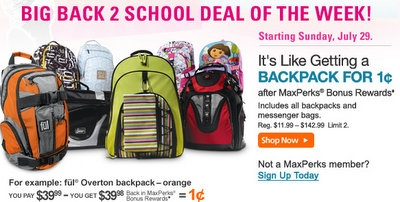maxperks free backpack Office Max | ALL Backpacks for Just 1¢   Starting Sunday