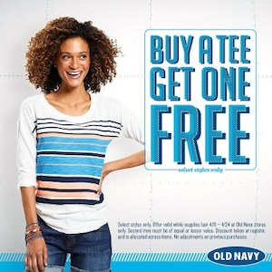 old navy bogo Ts Old Navy: Buy One Get One FREE Ts + $20 Amazon Gift Card Offer