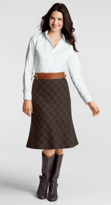 Windowpane Flare Skirt