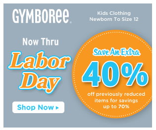 Gymboree Labor Day 40 Gymboree |  Extra 40% Off Already Reduced Sale Items