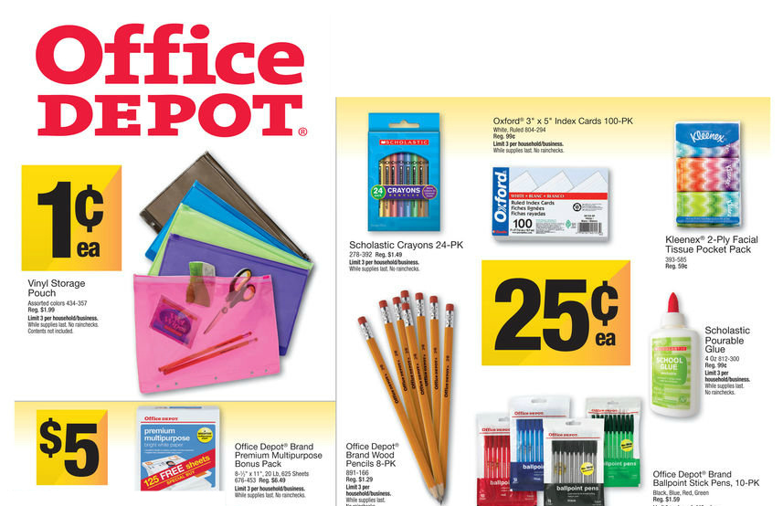 Office Depot Deals 8413 Office Depot School Supply Deals for Week of 8/4/13