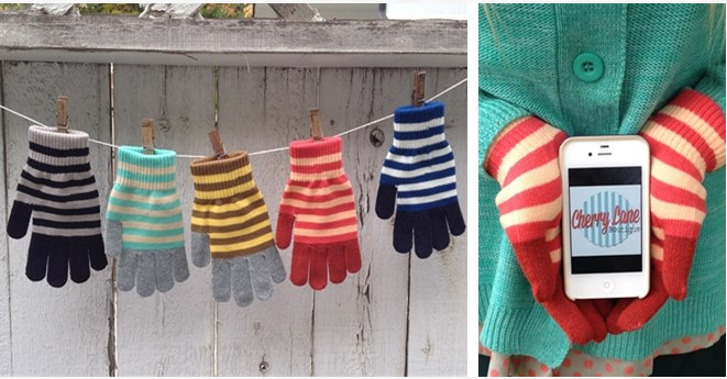 Jane Striped Texting Gloves