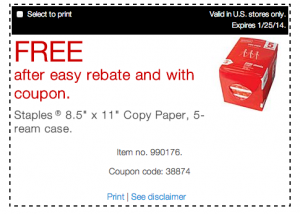 Free Case of Printer Paper at Staples