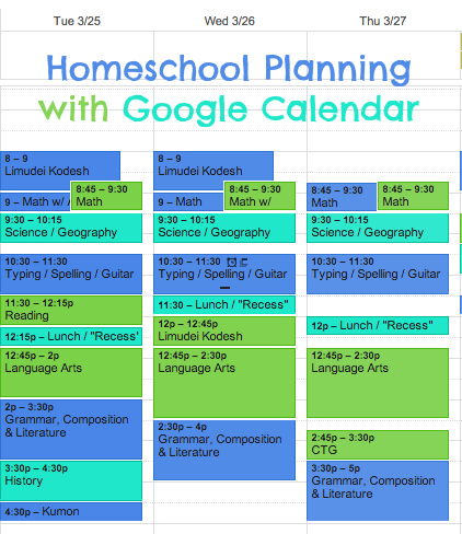Homeschool Planning Made Easy with Google Calendar