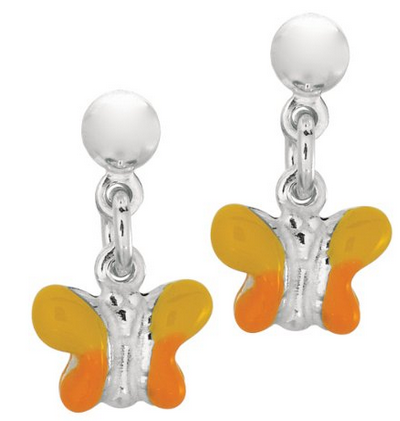 Sterling Silver Orange Butterfly Drop Earrings
