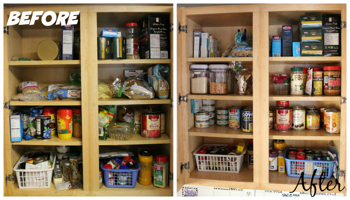 Before & After Kitchen Cabinet Declutter