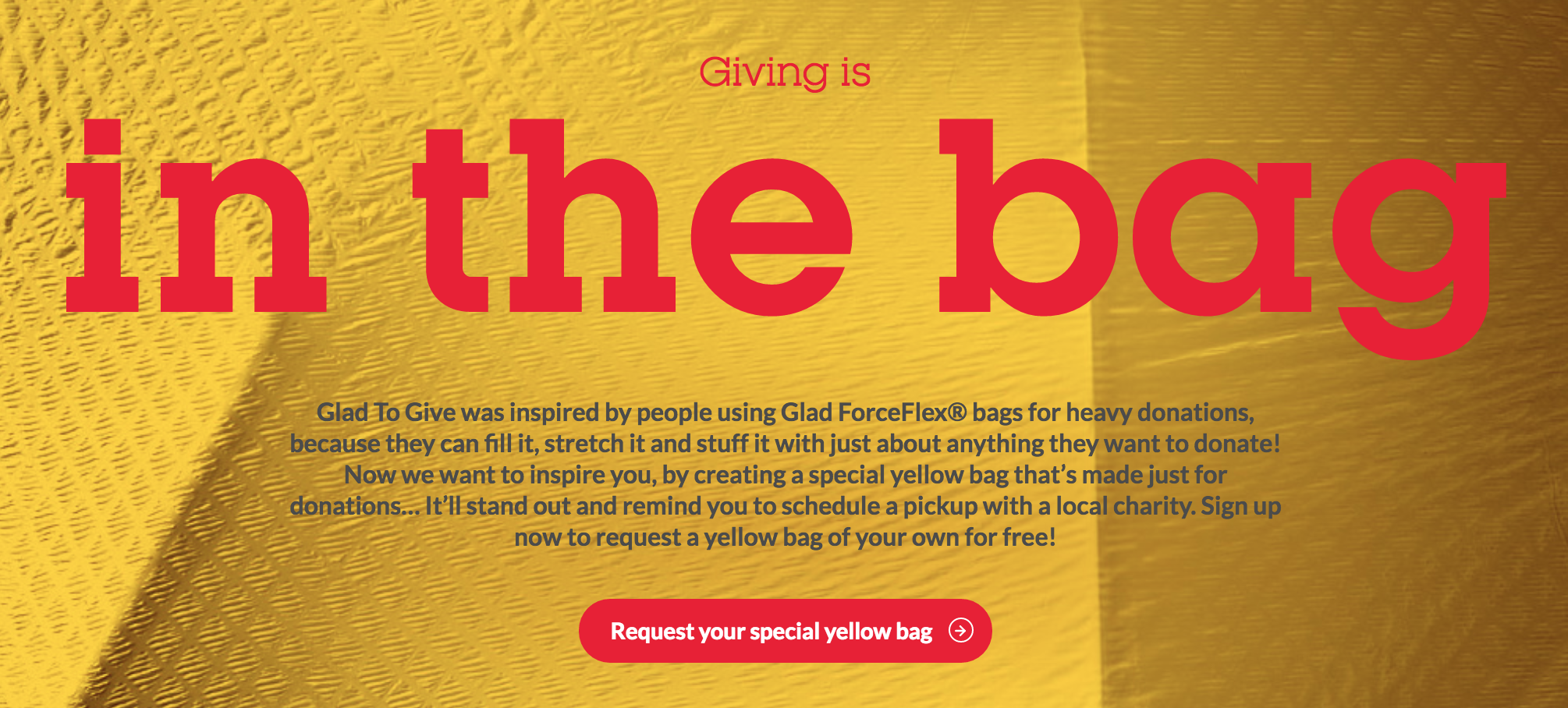 Free Yellow Donation Bag