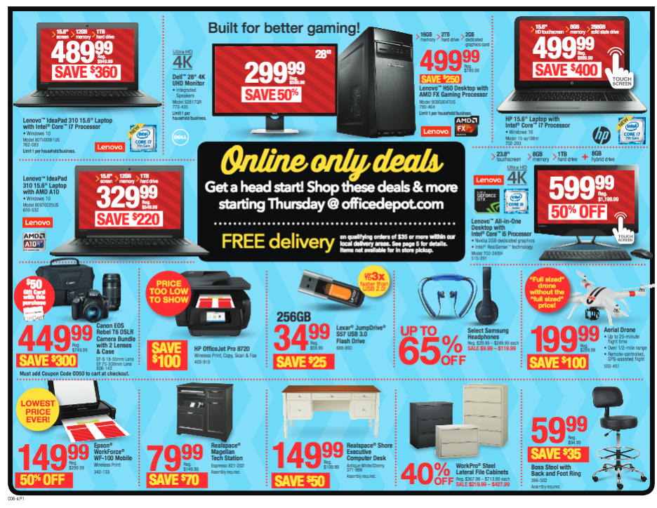 Office Max / Depot Black Friday Deals (Online Only)