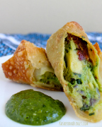 Avocado Eggrolls with Cilantro Cashew Dipping Sauce