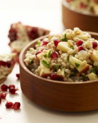 pearled barley salad with apples, pomegranate seeds and pine nuts